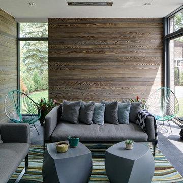 Wood Paneled Contemporary Sunroom
