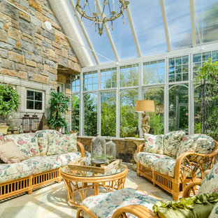 Mid-sized elegant travertine floor sunroom photo in Minneapolis with a glass ceiling
