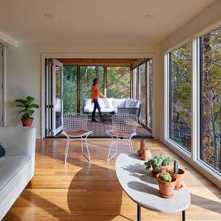 Réalisation d'une véranda vintage de taille moyenne avec un sol en bois clair, aucune cheminée et un plafond standard.