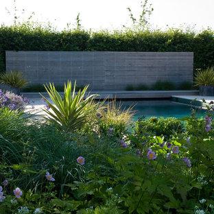 Foto di una piscina vittoriana rettangolare di medie dimensioni e dietro casa con pedane