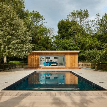 Contemporary poolside room
