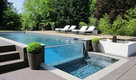 Glass wall outdoor pool