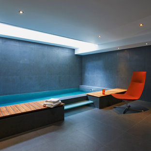 Design ideas for a small contemporary rectangular lengths swimming pool in London.