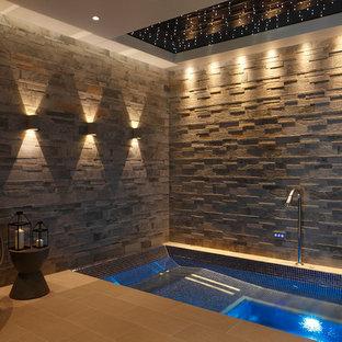 Foto de piscinas y jacuzzis contemporáneos, interiores y rectangulares, con suelo de baldosas