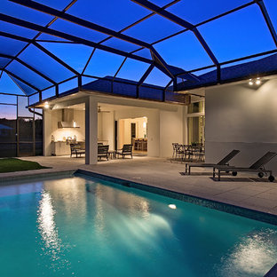 Inspiration for a modern pool remodel in New York