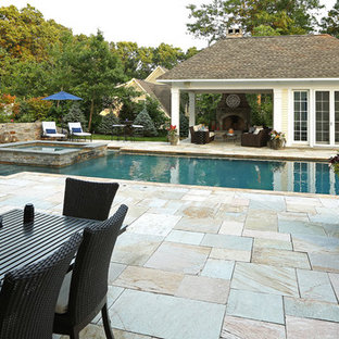 Open Pavillion Pool House w/Exterior Fireplace