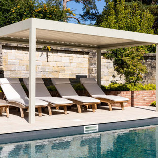 Large contemporary back swimming pool in Other.