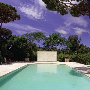 Idée de décoration pour une grand piscine arrière méditerranéenne rectangle.