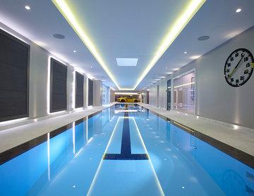 Striking deck-level swimming pool in Northwood, London.