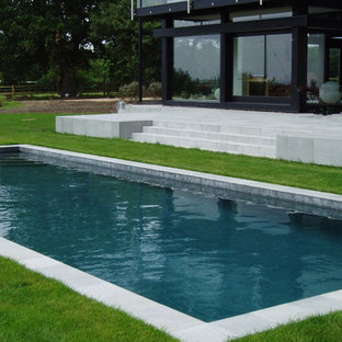 This is an example of a small modern back rectangular natural swimming pool in Hampshire with tiled flooring.