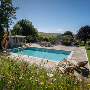 Design ideas for a medium sized rural swimming pool in Sussex.