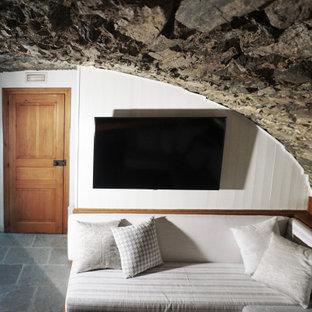 Cette photo montre un grand sous-sol montagne donnant sur l'extérieur avec un mur blanc, un sol en calcaire, une cheminée standard, un manteau de cheminée en pierre et un sol gris.