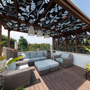 Example Of A Zen Rooftop Deck Container Garden Design In Bengaluru With Pergola
