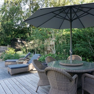 Design ideas for a medium sized classic back terrace and balcony in Cheshire.