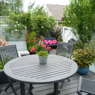 This is an example of a small classic terrace in London with a potted garden.