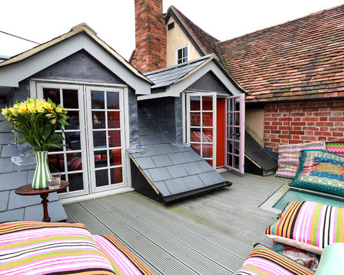 Design Ideas For A Small Eclectic Rooftop Deck In London With No Cover.