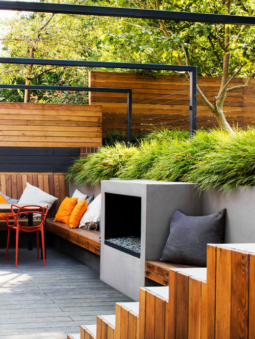 moderne terrasse mit feuerstelle ideen f r die terrassengestaltung houzz. Black Bedroom Furniture Sets. Home Design Ideas