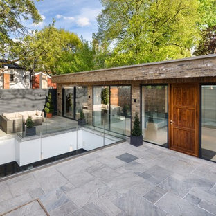 Photo of a contemporary terrace and balcony in London with no cover.