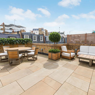 Inspiration for a large classic roof terrace in Other with a potted garden and no cover.