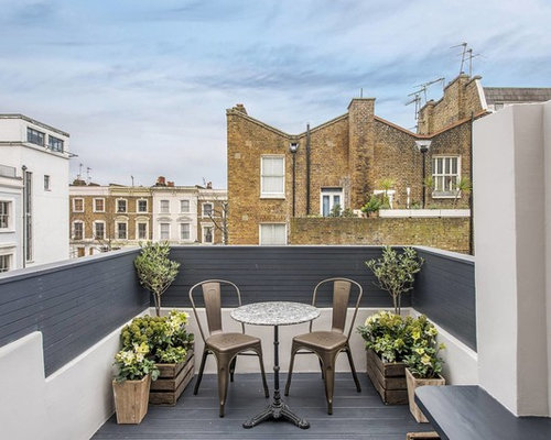 home terrace design. Design ideas for a small modern side terrace in London with potted garden  and no Contemporary Terrace Ideas Renovations Photos