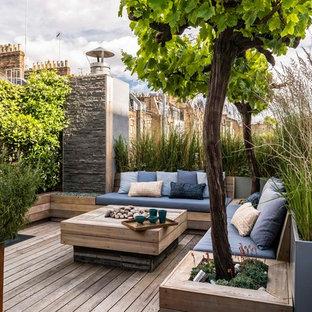 Foto di una terrazza contemporanea sul tetto e sul tetto con un giardino in vaso e nessuna copertura