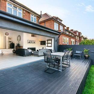 Design ideas for a traditional back terrace and balcony in London with no cover.