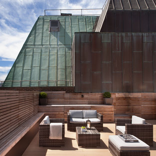 Photo of a contemporary roof terrace in London with no cover.