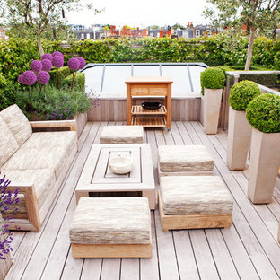 Design ideas for a contemporary rooftop deck in London with no cover and a container garden.