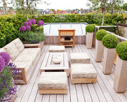 contemporary rooftop deck idea in london with a container garden