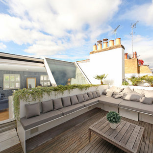 Contemporary roof terrace and balcony in London with no cover.