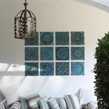 Turquoise tiles wall art installation 6