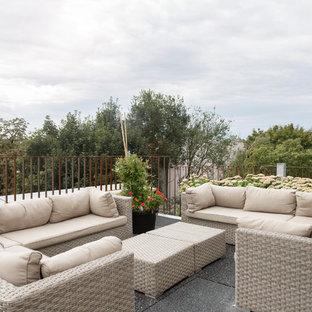 Foto di terrazze e balconi sul tetto con un giardino in vaso e nessuna copertura