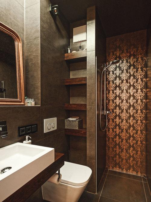 Badezimmer Ideen Design Bilder Houzz - Bad mit braunen fliesen verschönern