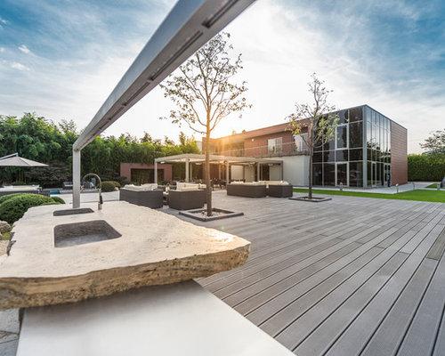 Industrial terrasse mit outdoor küche   ideen für die ...