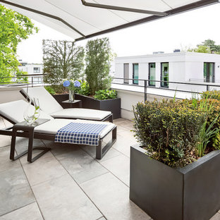 This is an example of a mid-sized contemporary rooftop deck in Berlin with a vertical garden and no cover.