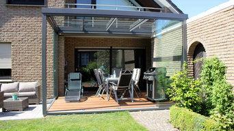 Terrassen-Überdachung Flachdach mit Glas