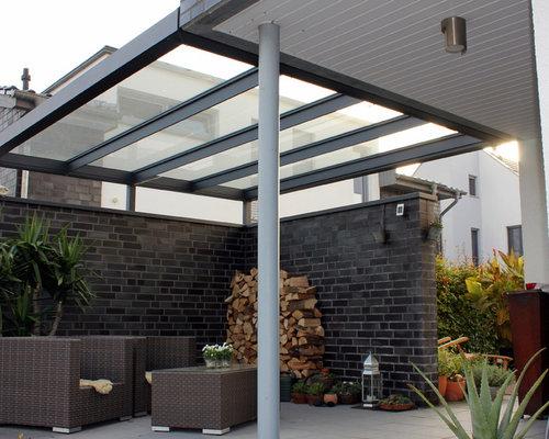 terrassen-Überdachung flachdach mit glas, Hause deko
