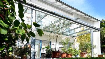 Terrassenüberdachung aus verzinktem Stahl, mit Verbundsicherheitsglas