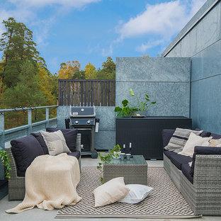 Bild på en skandinavisk takterrass