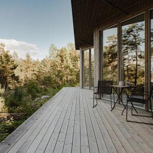 Inspiration för skandinaviska terrasser, med takförlängning