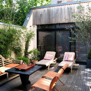 Cette photo montre une terrasse avec des plantes en pots tendance de taille moyenne.