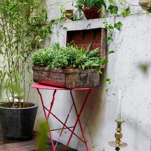 Idee per un patio o portico design di medie dimensioni e in cortile con un giardino in vaso, pedane e nessuna copertura