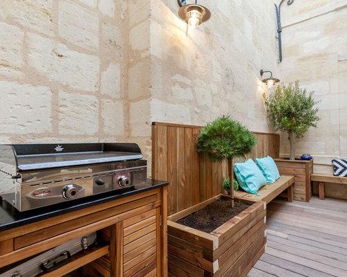 Cool cette photo montre une terrasse avec une cuisine - Taille moyenne cuisine ...