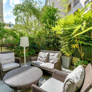 Idée de décoration pour une terrasse avec des plantes en pots tradition de taille moyenne avec une cour et aucune couverture.