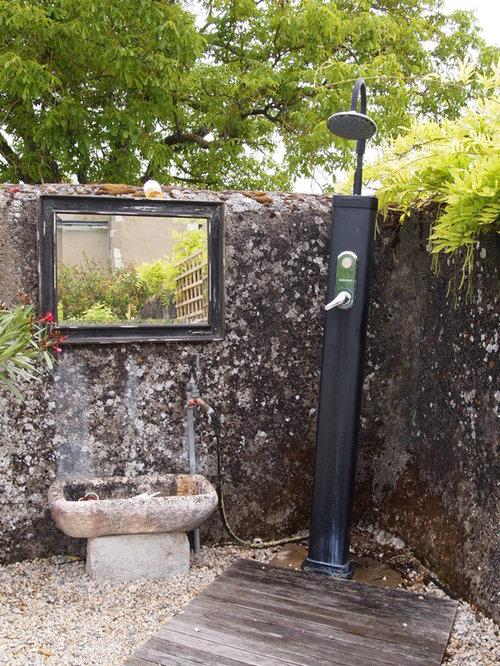 landhausstil terrasse mit gartendusche - ideen für die ... - Gartendusche Ideen