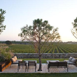Cette photo montre une terrasse arrière tendance de taille moyenne avec aucune couverture.