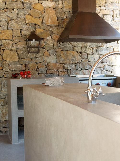 Une cuisine d 39 ext rieur tout en b ton cir for Cire beton exterieur