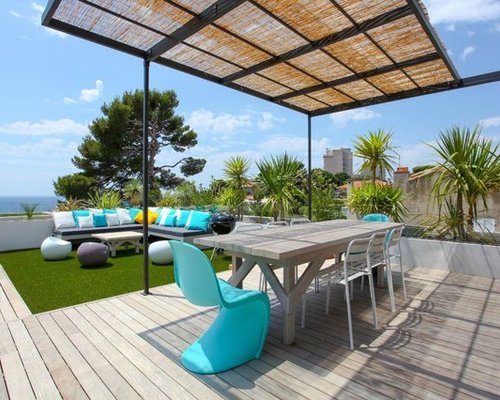 maritime dachterrasse mit pergola ideen design bilder. Black Bedroom Furniture Sets. Home Design Ideas