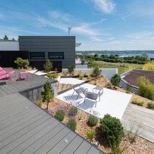 Réalisation d'un toit terrasse design de taille moyenne avec aucune couverture.