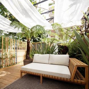 Cette image montre une terrasse avec des plantes en pots arrière ethnique de taille moyenne avec un auvent.